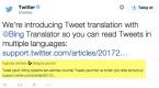 Twitter'a Bing Çeviri Desteği